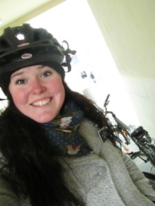 My freezing red face after riding bikes.