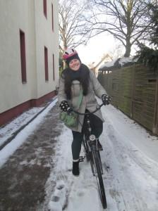 Biking in Berlin - wearing my Little Princess helmet.