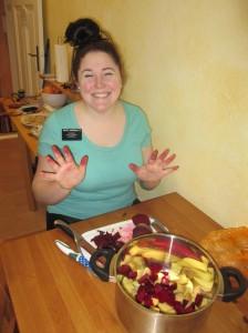 Making borscht.
